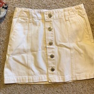 White jean button up skirt